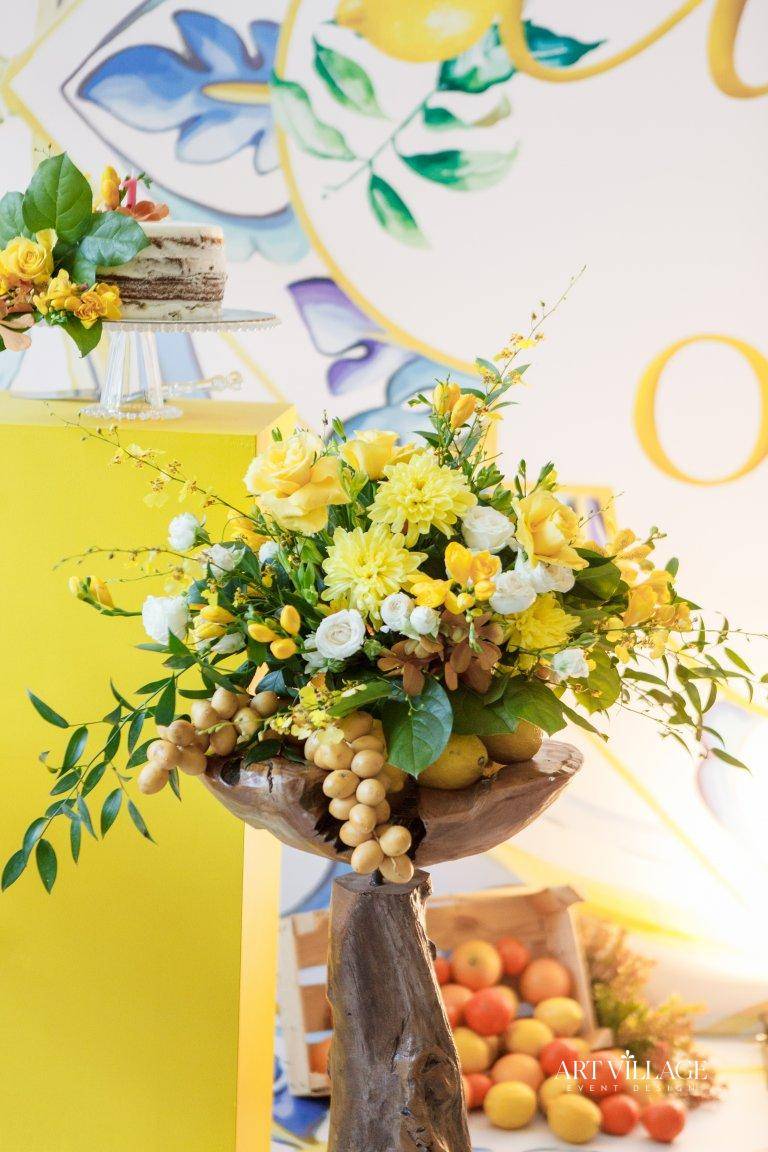 yellow and white flower arrangements
