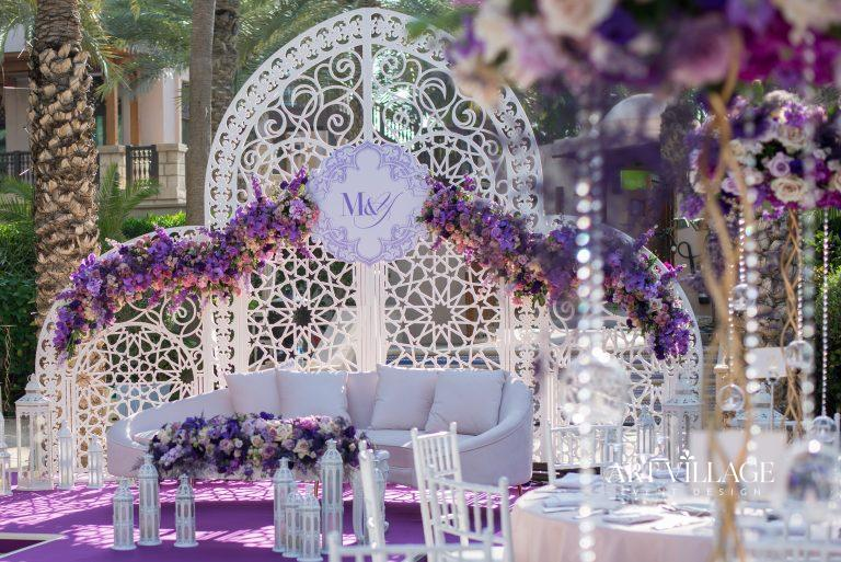purple and white kosha decoration