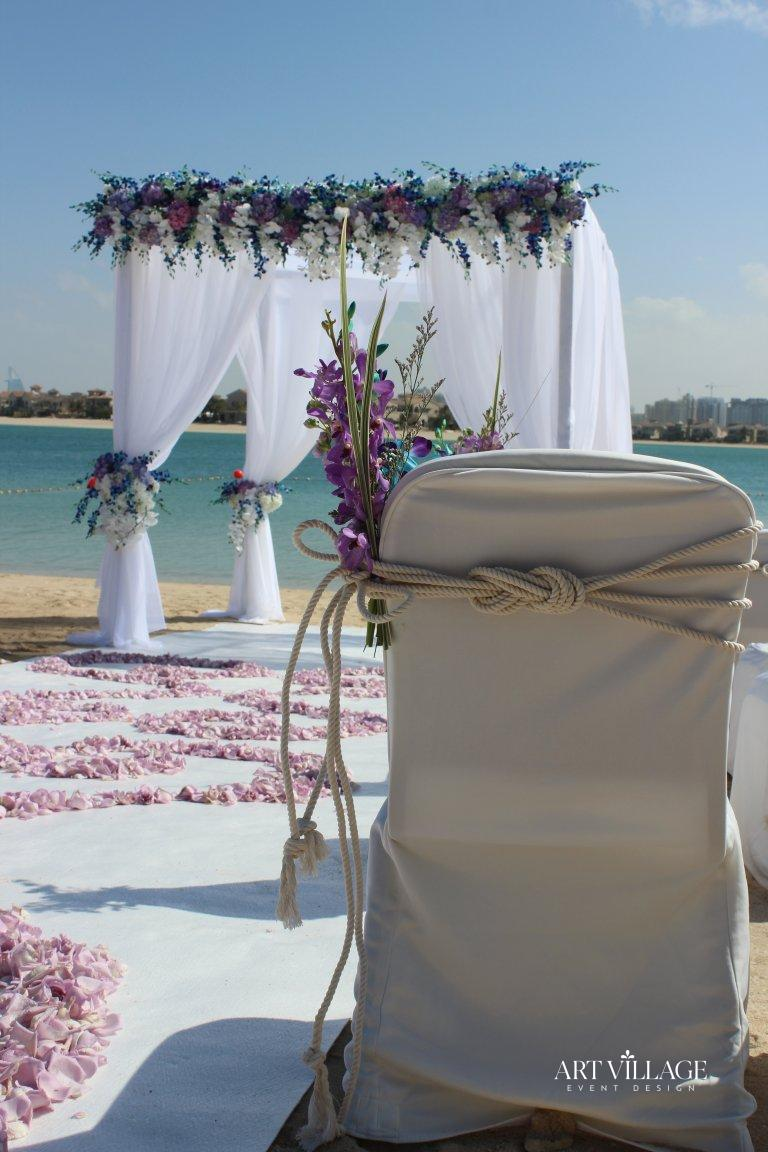 White banquet chair with knots
