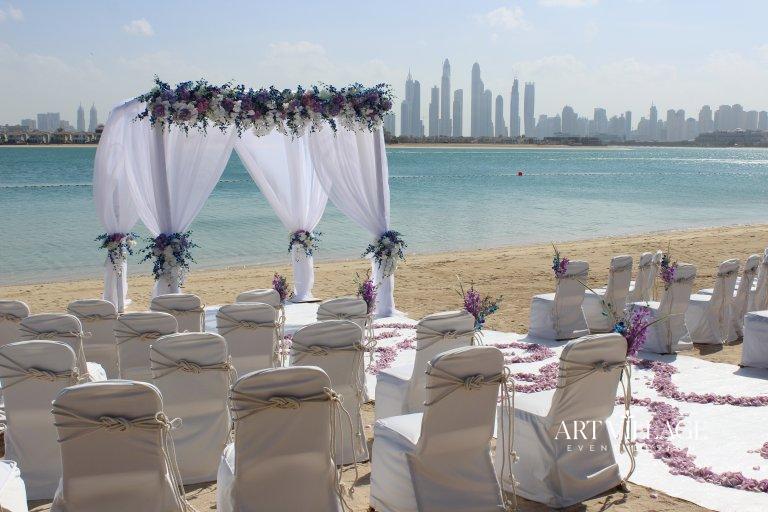 Beach wedding ceremony in Dubai