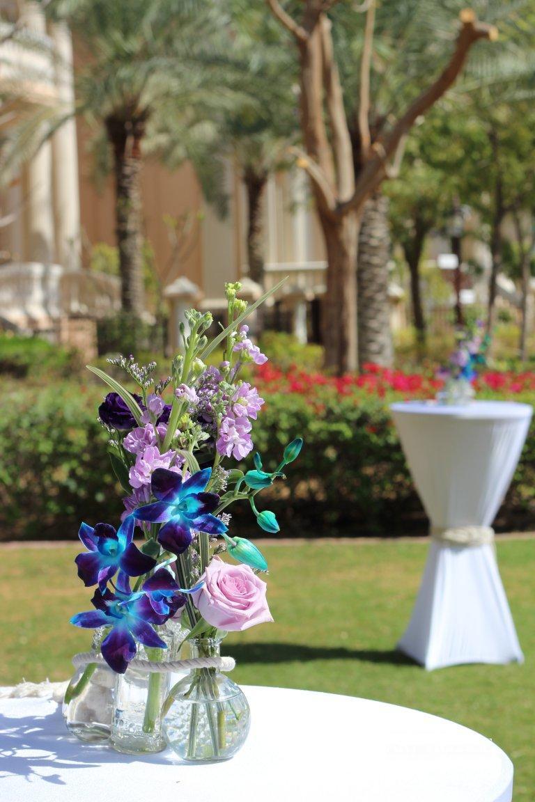 Lilac and blue flower arrangement