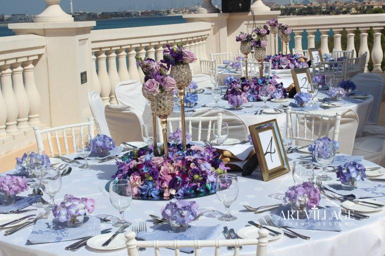 Purple and blue table decoration