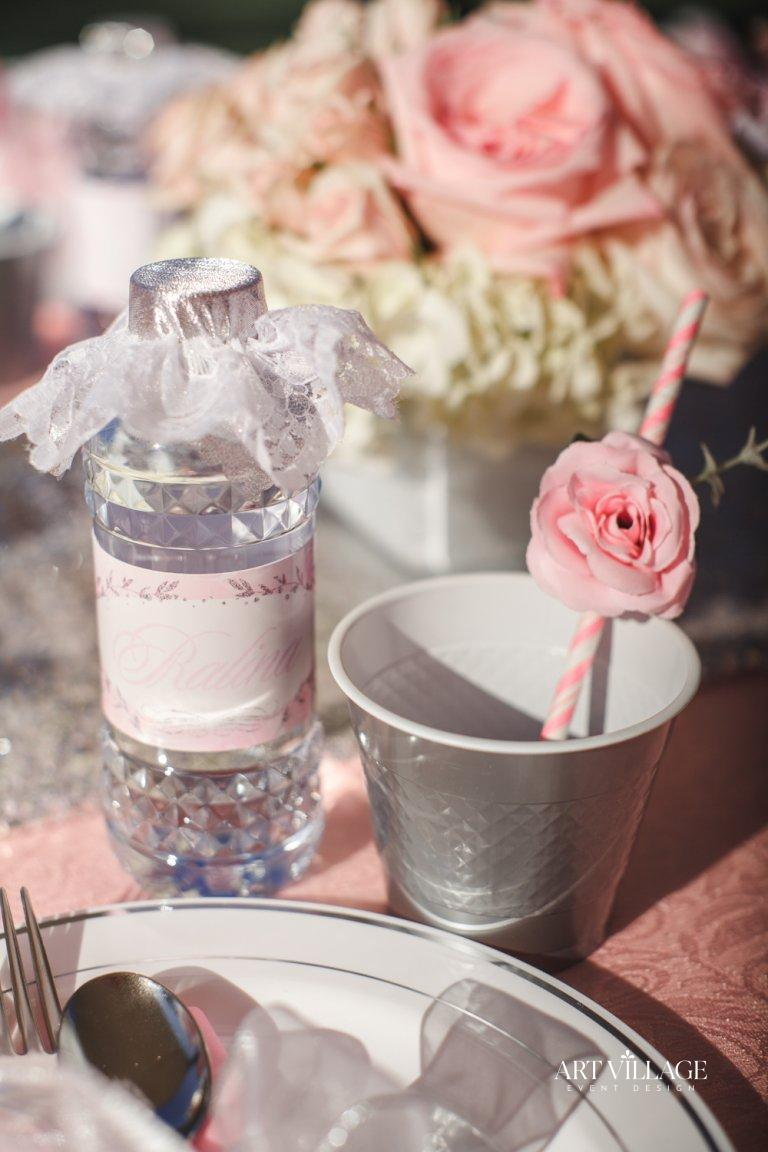 pink and silver table decorations