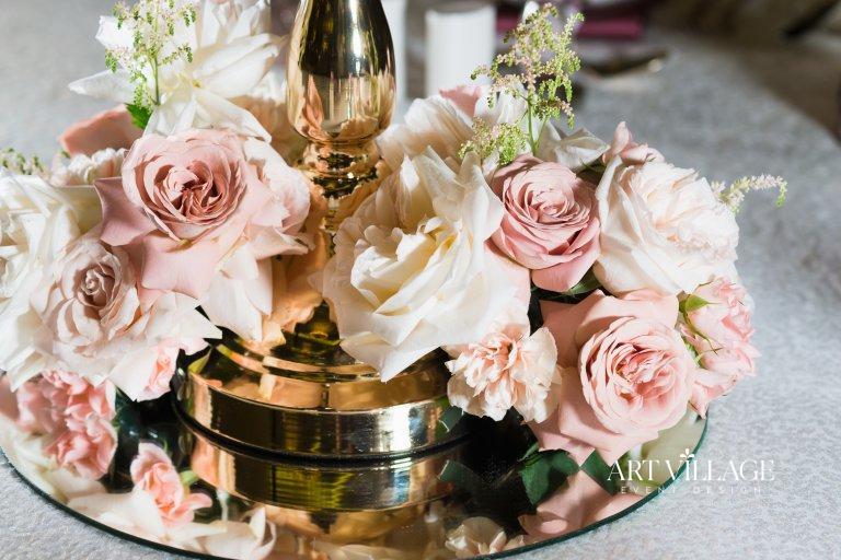 pink floral centerpieces Palm Jumeirah