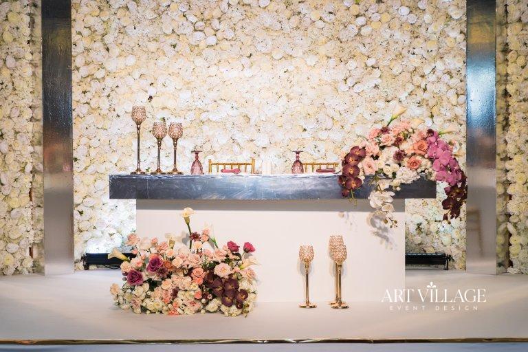 mauve color kosha bridal stage