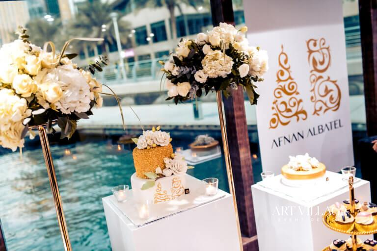 white and gold flower arrangements