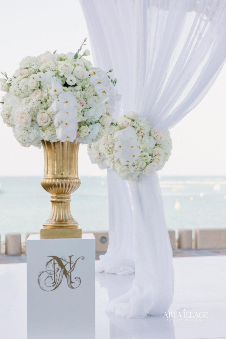 ceremony white flower decoration Dubai