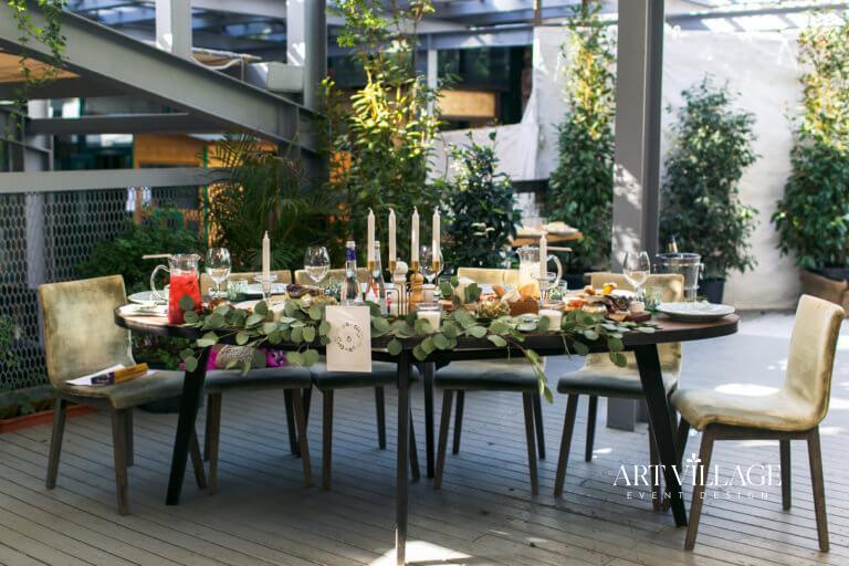 greenery wedding table decor Dubai