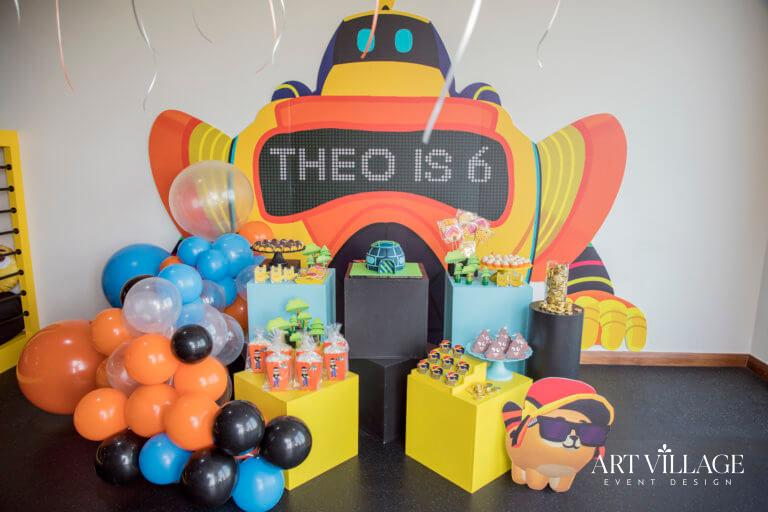 Kids backdrop with balloons