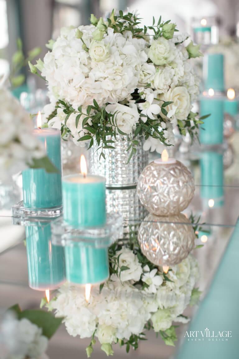 Candle light and flower arrangement