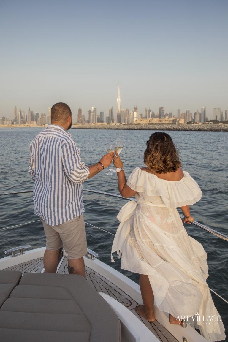 Romantic couple yacht tour